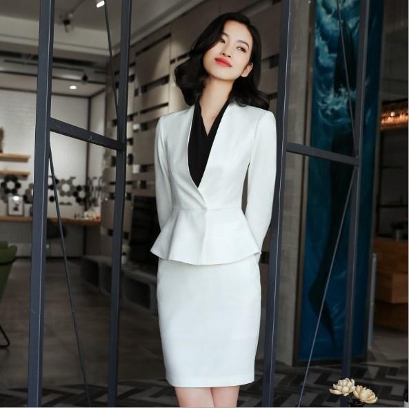 Compre Diseños De Uniforme De Oficina Trajes De Falda Para Mujer Tallas  Grandes Traje De Dos Piezas Conjunto De Manga Larga Blazer Y Falda Negro  Blanco Gris ... 9663ae042a6
