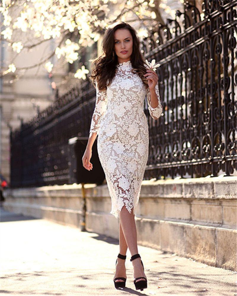 Moda de encaje de marfil Formal corto vestidos de noche de la vaina Sexy 3/4 mangas largas Cuello alto Elegantes vestidos de noche cortos Gorgeous Celebrity Dress