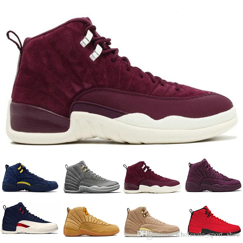bfacbe46856 12 12s Mens Basketball Shoes Bordeaux Dark Grey Flu Game The Master ...