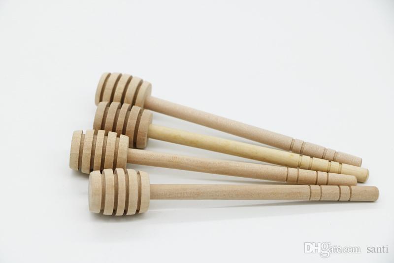 15 cm Agitador De Madeira Colher De Mel Vara para o Mel Jar Punho Longo Mixing Vara Mel Dipper Fornecimento de Partido