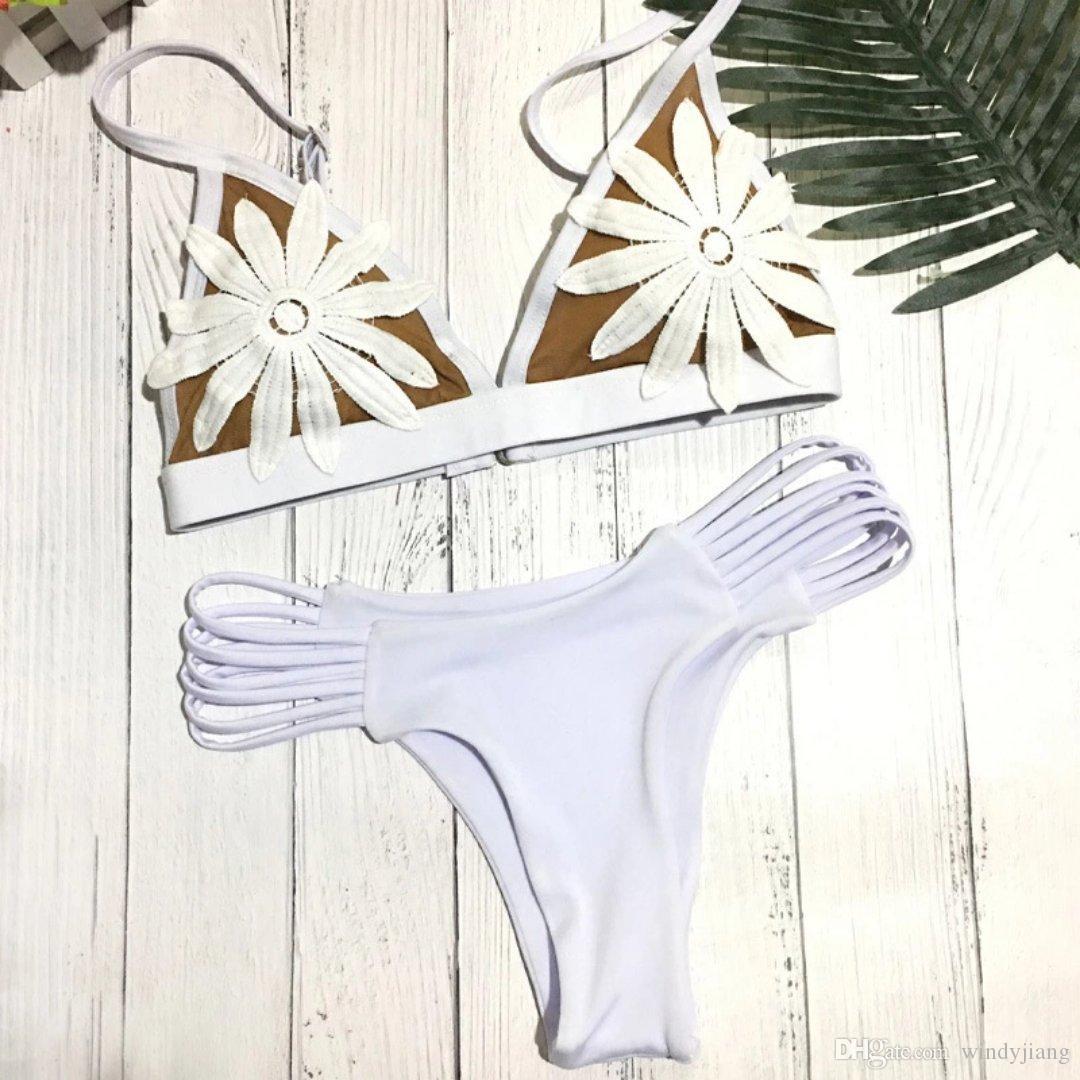 2018 HOT Sexy White 3D Floral Swimwear Bikinis Two pieces Swimsuit Women Bikini Set Brazilian Biquini Push Up Female Bathing Suits