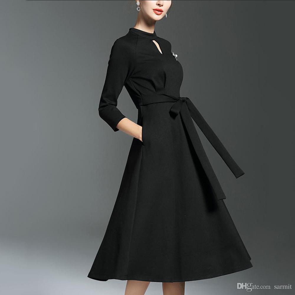 2019 Classic Audrey Hepburn Dress Black Formal Dress Women Elegant Dress  Women Summer 2018 Office F2943 With Waist Belt From Sarmit 9616befd6