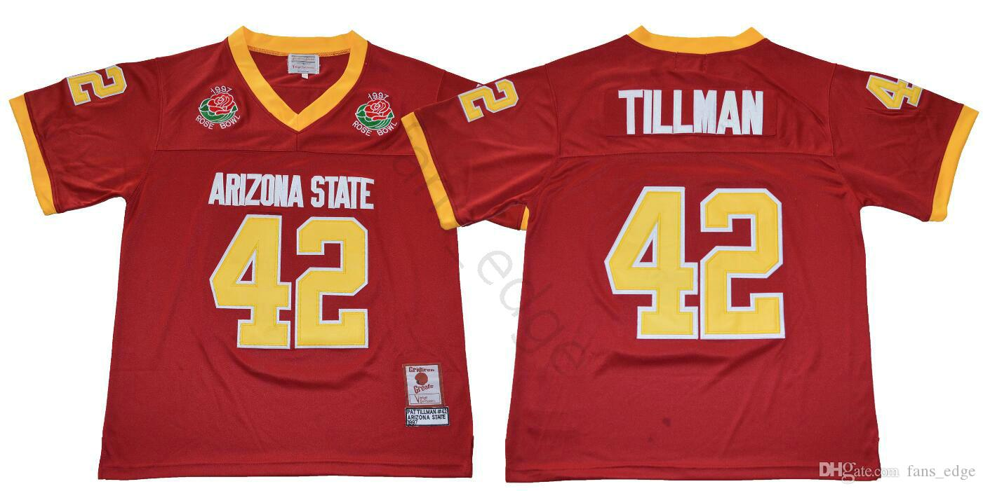 lowest price 38433 cb6bb NCAA Arizona State Sun Devis College #42 Pat Tillman Jersey ASU 1997 Rose  Bowl Stitched Pat Tillman Home Maroon University Football Jerseys