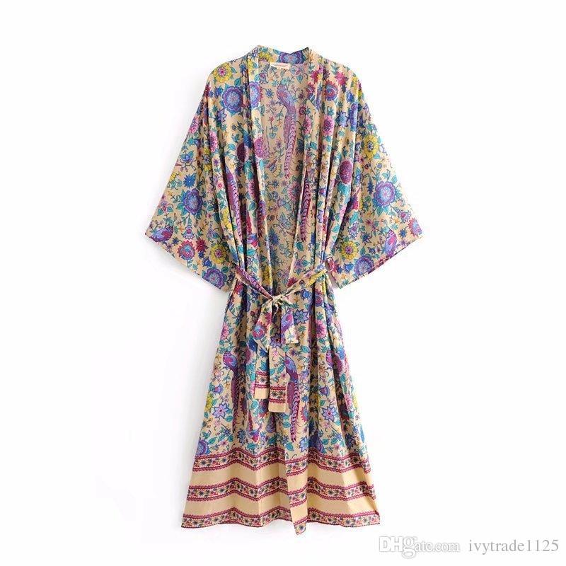 Moda Euro Style Abbigliamento donna Chiffon lungo Orientamento moda pavone stampa cravatta donna mantello