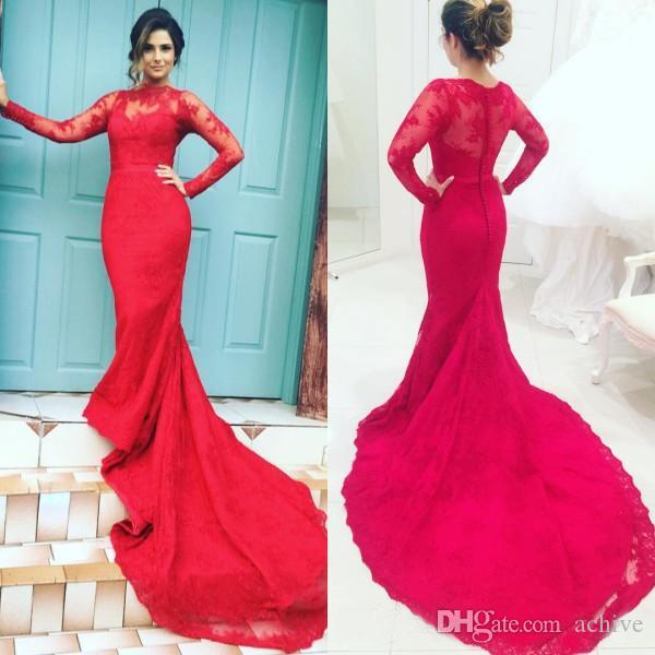 Großhandel Red Lace High Neck Abendkleider Mit Langen Ärmeln Prom ...