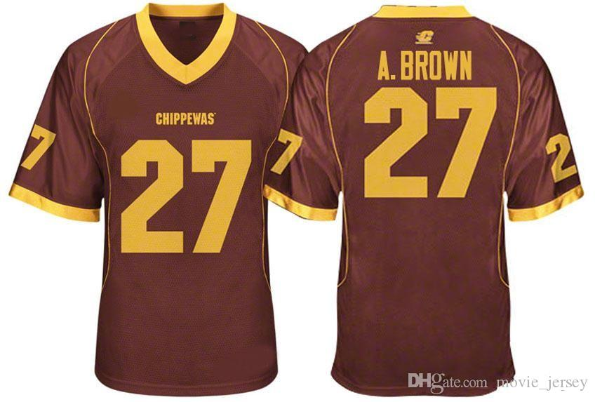 buy popular 26d5b d8dee Mens Central Michigan Chippewas Antonio Brown College Football Jerseys  Cheap Mroon 27 Antonio Brown Stitched Football Shirts