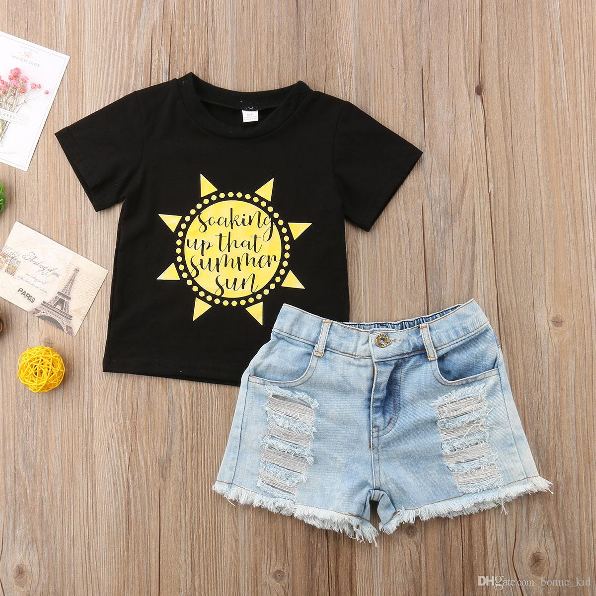 32659a59f Summer Kids Girl Clothes Black T-shirt Jeans Shorts Set Outfits Kid ...