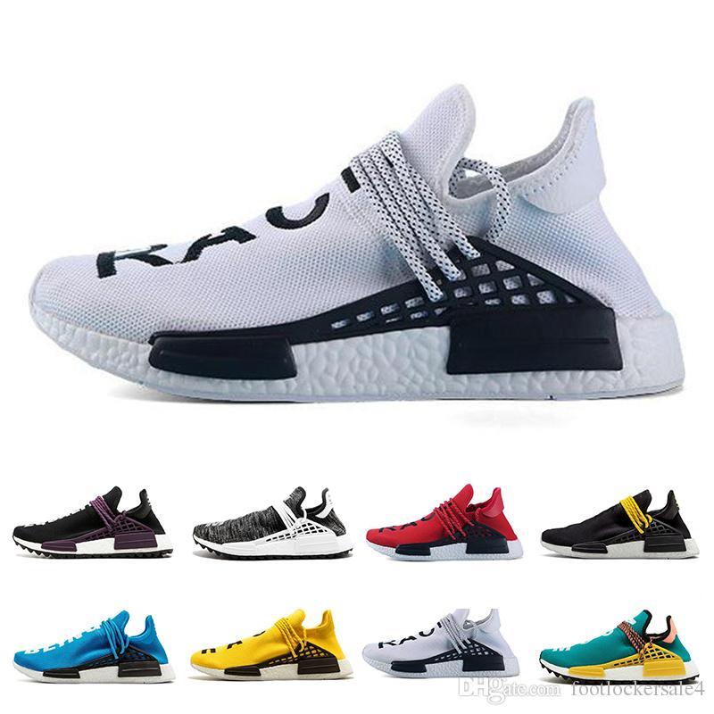 a723309fc53d2 2019 Human Race 1.0 2.0 Trail Running Shoe For Men Women HU Trail Blank  Cream Yellow Pharrell Williams Designer Sport Sneakers 36 47 From  Footlockersale4
