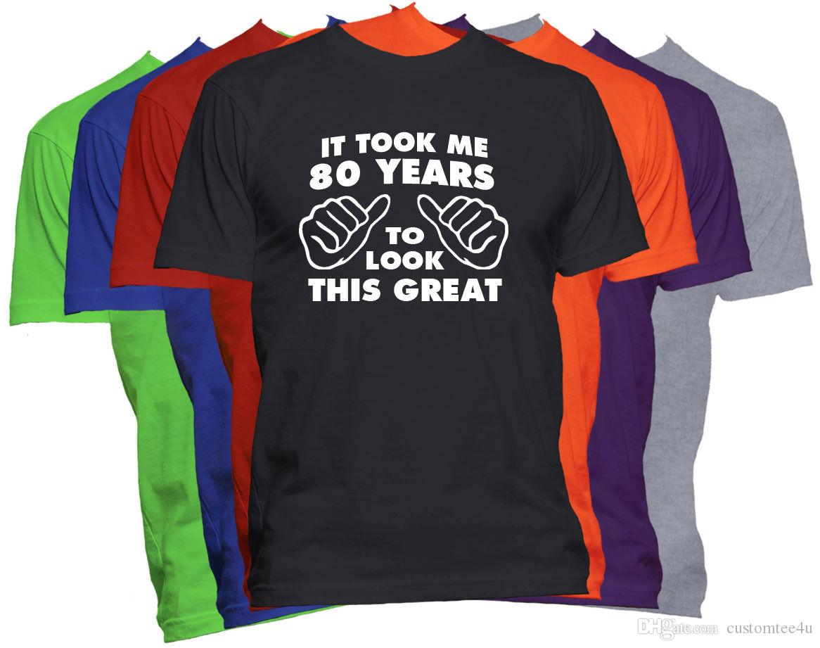 80Th Birthday Shirt Happy Gift Customized T Men Popular Custom Short Sleeve Big Size MenS Shirts Cool Companies