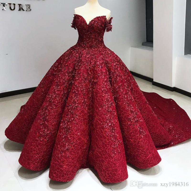 Amazing Lace Ball Gown Evening Dress Red Off Shoulder Beaded Sequins Sparkling Red Carpet Dress Luxury Dubai Evening Gown Celebrity Dress