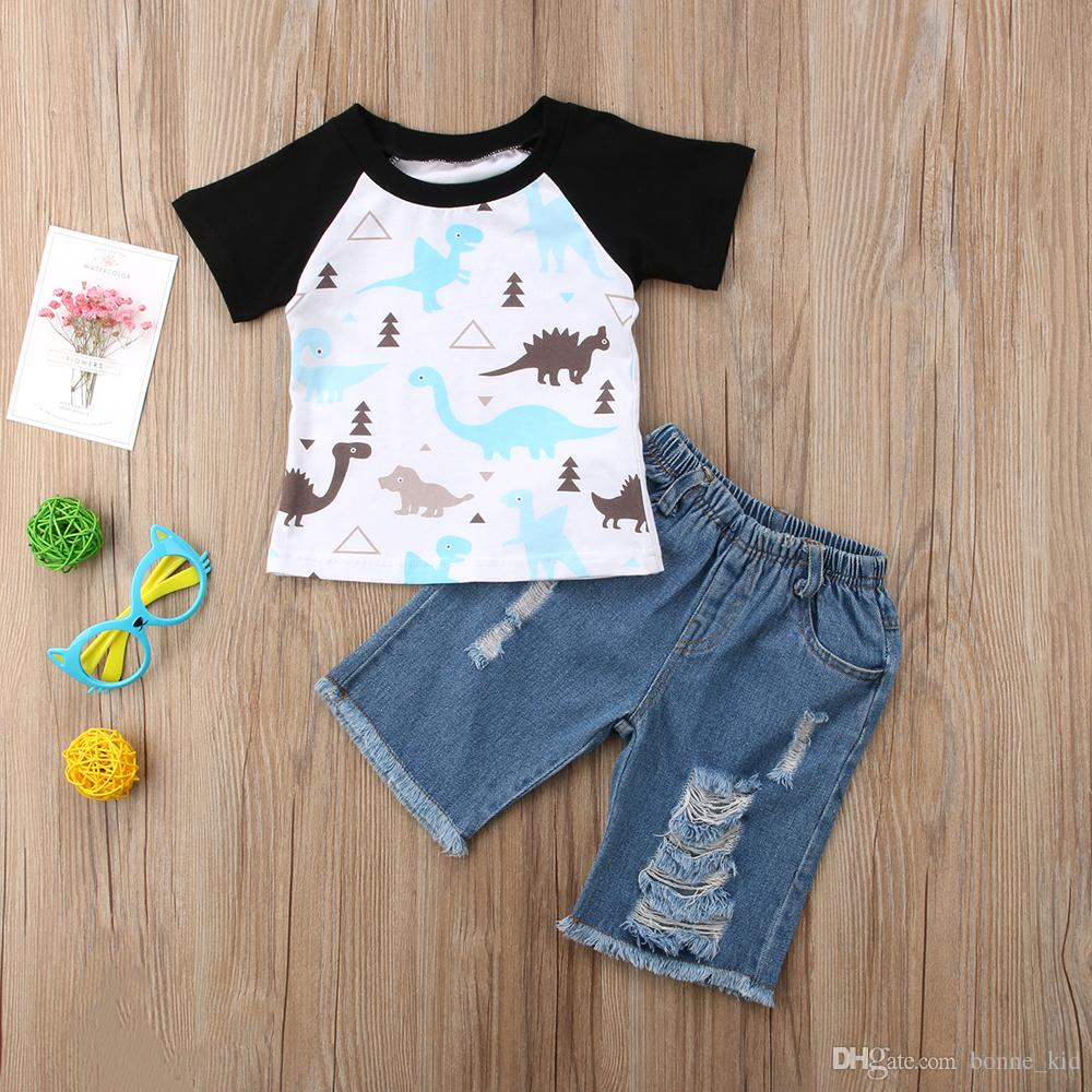 Baby Boys Brother Oufits Dinosaur T-shirt+ Jeans set Summer Kids Sportswear Black Gray Brother Twins Wear Kids Boy Boutique Clothes