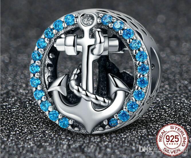 925 Sterling Silver Romance Ocean Blue Diamond Charms Anchor, argent 925 perles en vrac pour BRICOLAGE Bracelets Pendentifs Collier