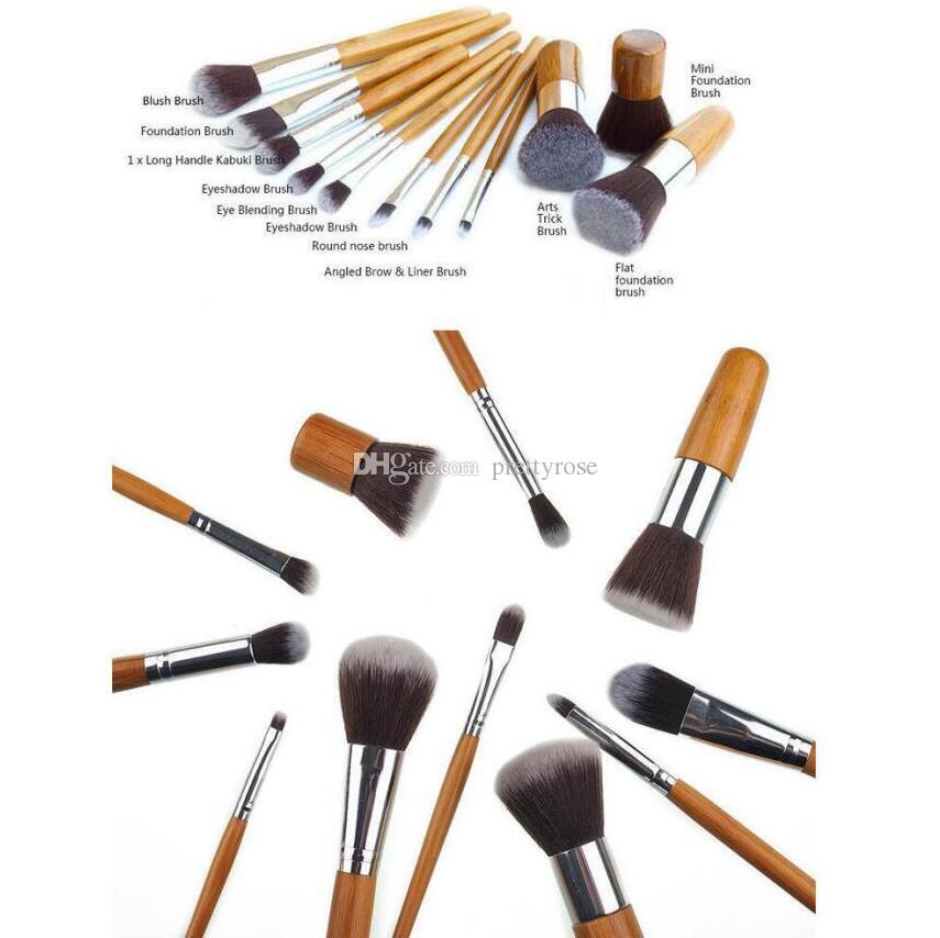 Pinceaux De Maquillage En Bambou Maquillage Pinceaux Professionnelle Kit De Pinceau Cosmétique Fibre Cheveux Avec Tirez Sac Sac À Paupières Fondation Ombre À Paupières Outils
