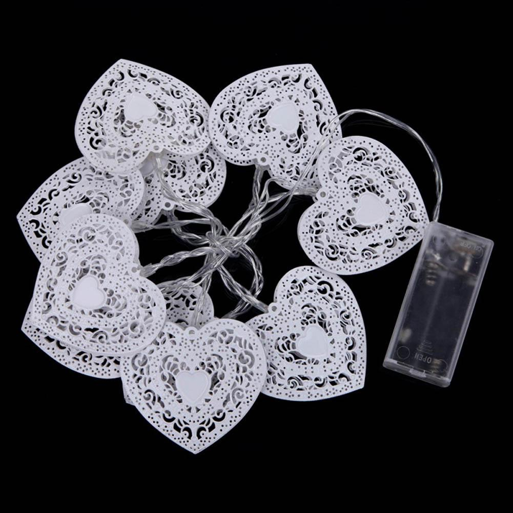 Indoor/Outdoor Warm White Fairy Light 10 LED Battery Operated Heart Shaped Christmas String Light Festival Party Wedding Decor