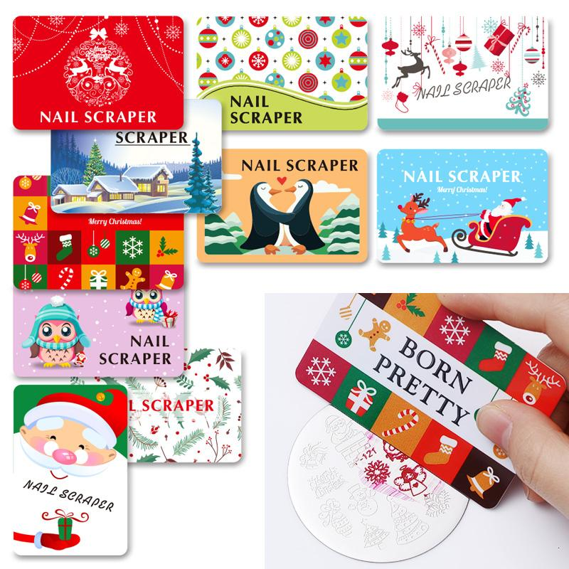 BORN ABBASTANZA 4Pcs Natale Nail Scrapers Set Stamping Card Snowman Scrapers Nail Stamping Tool Modello casuale