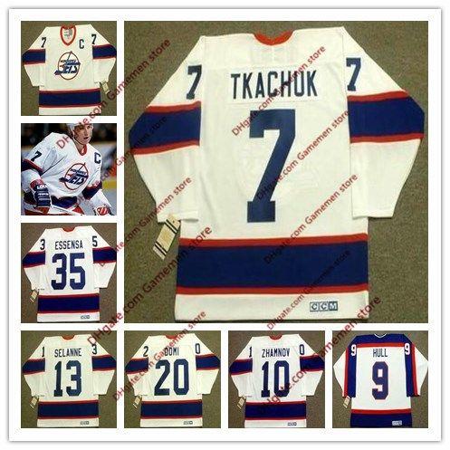 official photos f6a2a a8f34 Custom men s KEITH TKACHUK Winnipeg Jets 1993 CCM Vintage Retro Home Hockey  Jersey 35 BOB ESSENSA 13 TEEMU SELANNE 20 TIE DOMI Winnipeg