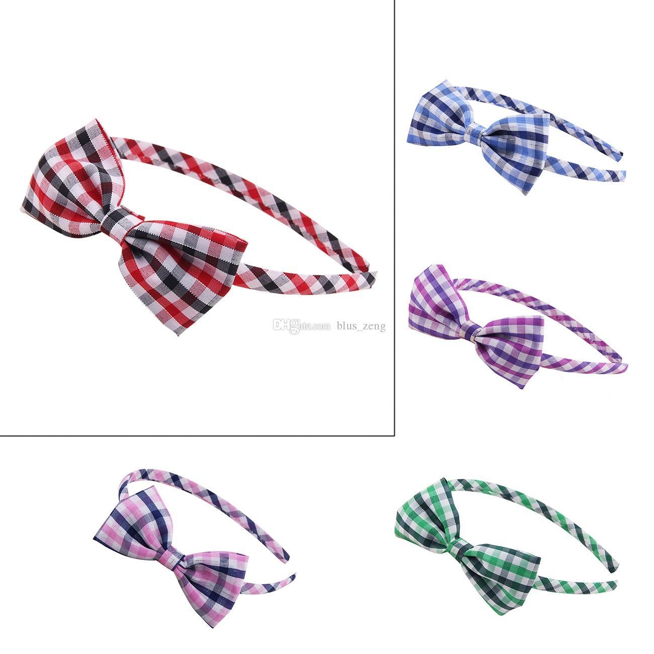 Ragazze Check modello fiocco Hairband bambini Fascia per capelli per il  partito Accessori per capelli compleanno fai da te Hair Clasp Cosplay fascia