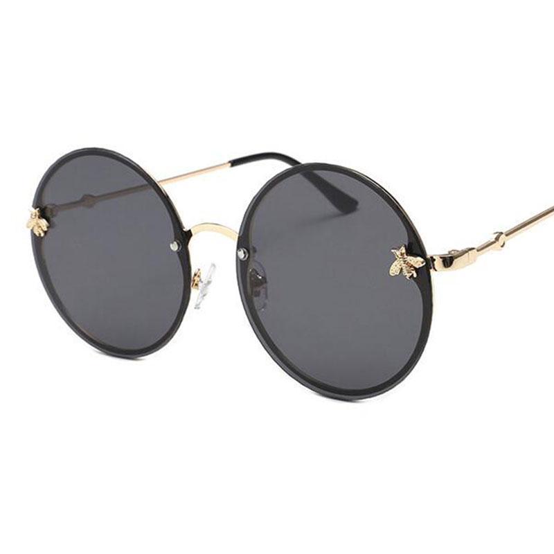 03ac148e8ccd6 Vintage Round Sunglasses Women Men Trend Mirror Pink Glasses Gold Little  Bee Round Goggles Female Black Lens Eyewear UV400 Glass Frames Online  Eyeglasses .