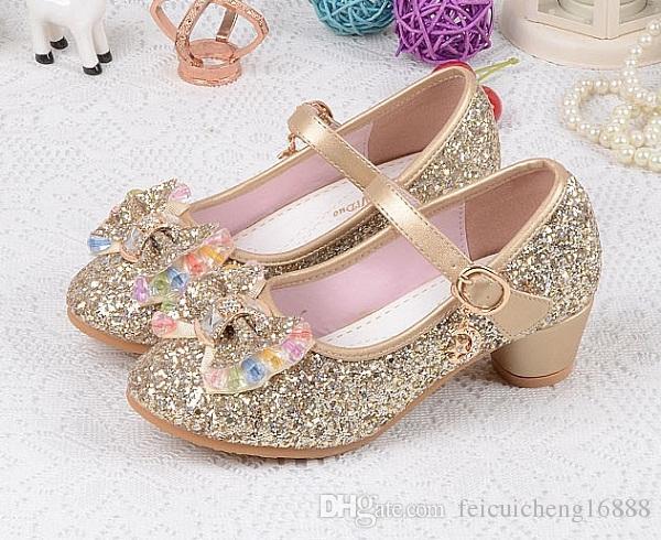 2018 Baby Mädchen Hochzeit Prinzessin Kinder High Heels Kleid Party Schuhe Für Mädchen Rosa Blau Gold