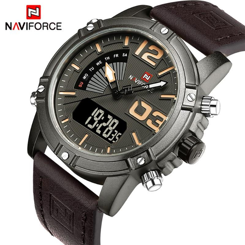 7b5ae34ad633 Compre NAVIFORCE Mens Relojes Top Brand Luxury Leather Watch Hombre Moda  Militar Relojes Deportivos Relogio Masculino Reloj Con Caja S923 A  33.5 Del  ...