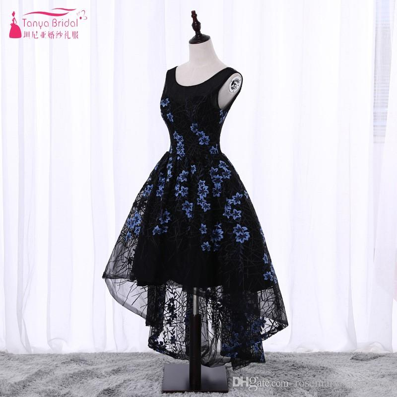 Pattern Floral Embroidery Prom Dresses 2018 Short Front Long Back High/Low Ball Gown Black Evening Prom Gown