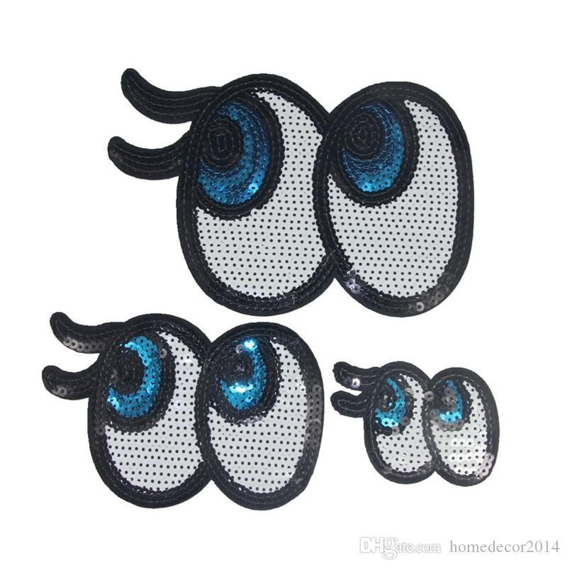 3 Sizes Sequins Eyes Embroidered Patches Sewing Iron On Badge For Bag Jeans Hat Appliques DIY Sticker Decoration Apparel Accessories