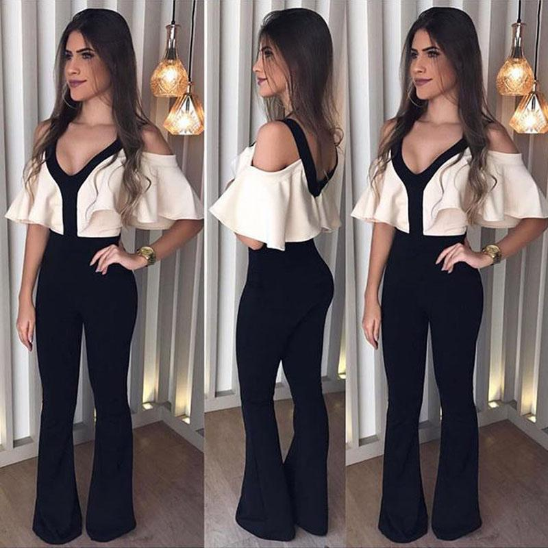 165fc512361 2019 Women Summer Sexy Patchwork Jumpsuits Ruffle Sleeve V Neck Evening  Party Ladies Pants Jumpsuit Stitching Rompers Street Overalls From  Priscille