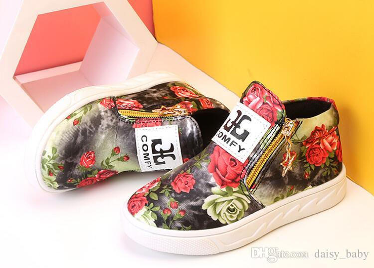 Unisex Children Casual Shoes Flower Prints Kids Boys Girls Fashion Flat With Double Zipper PU Leather Shoes #14