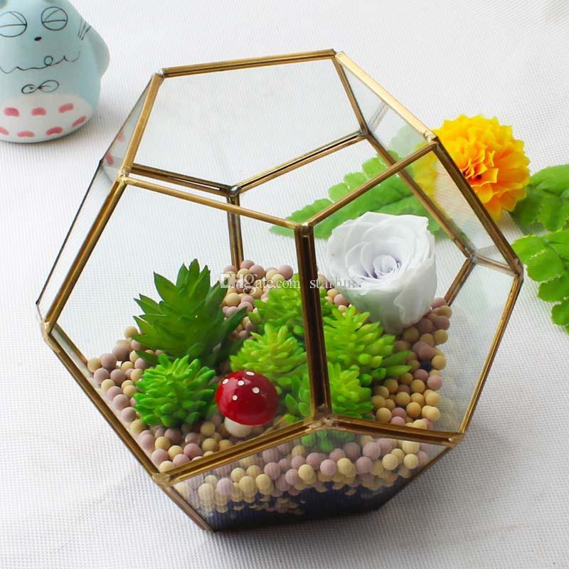 18 14cm Miniature Glass Terrarium Geometric Diamond Desktop Garden
