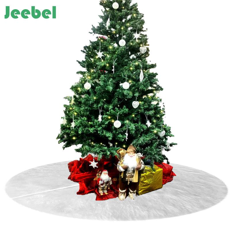 White Faux Fur Christmas Tree Skirt Carpet For Home 2019 New Year