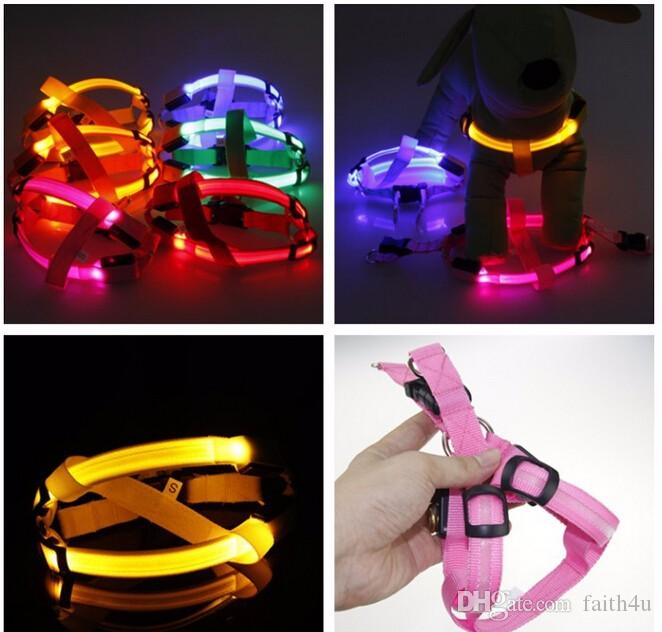 Nylon LED Dog Harness Pet Cat Dog Collar Harness Vest High Quality Safety Lighted Accessories Dog Harness Small / Big / Large/XL