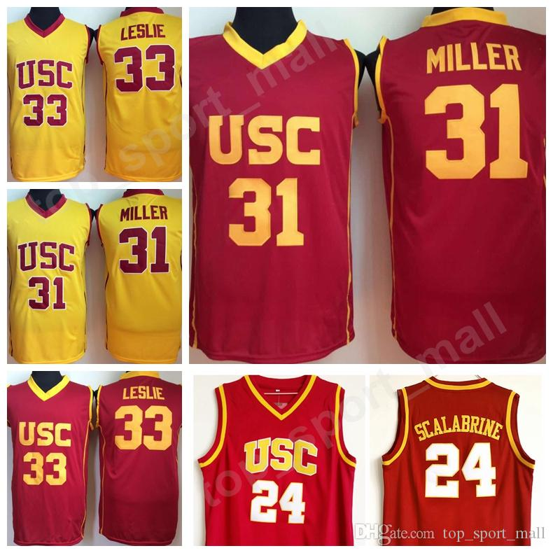 lowest price a7f60 0791c USC Trojans College 24 Brian Scalabrine Jersey 31 Matt Miller 33 Lisa  Leslie Basketball Jerseys University Team Red Color White Away Quality