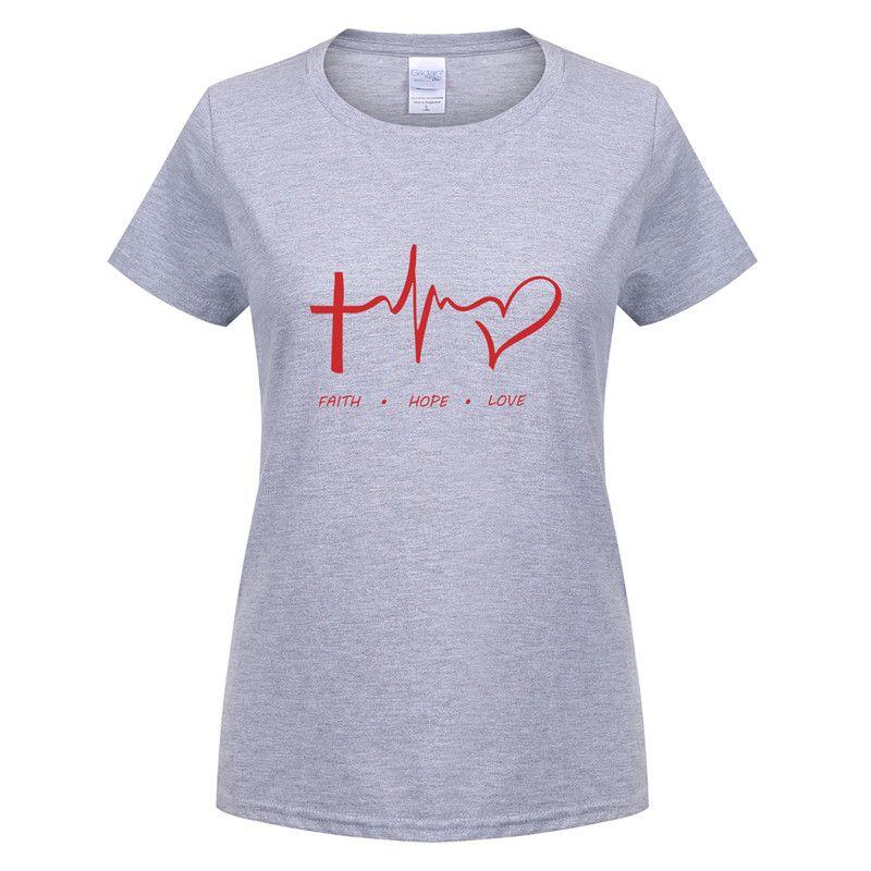 39143a3e87 Compre Omnitee Fé Esperança Amor Cristão T Camisas De Algodão De Manga  Curta Mulher Camiseta Feminina Menina Christianity Deus T Shirt Tee OT 620  De Caesarl ...