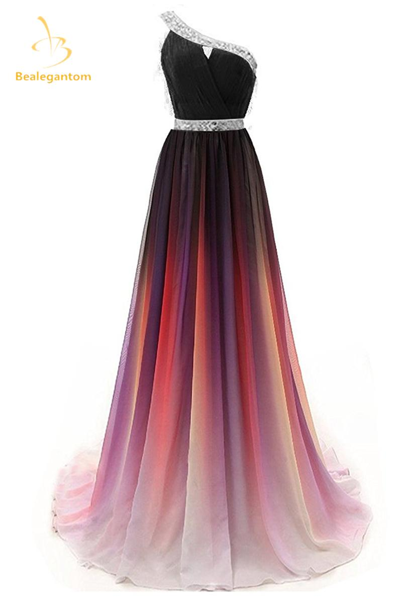 302ded206d8 2019 Bealegantom 2018 Gradient One Shoulder Chiffon Prom Evening Dresses  Beaded Plus Size Ombre Party Gowns Vestido Longo QA1232 C18111601 From  Linmei0005