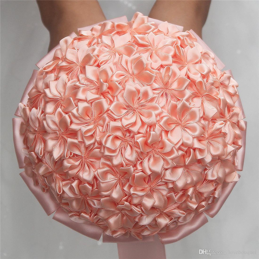 17cm Customizable Ribbon Flower Wedding Bouquet Simple Solid Color