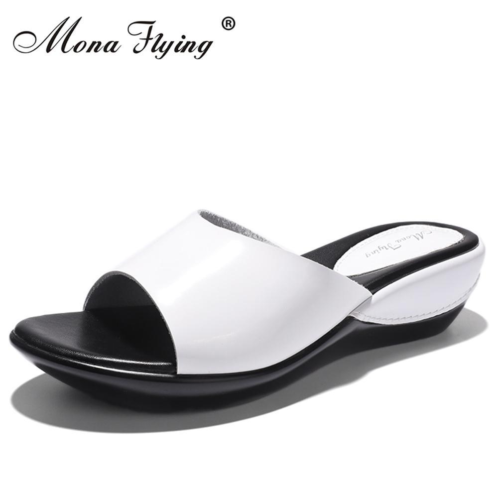 7580b3701b8e2 Women Flat Platform Slides Shoes 2017 Summer Brand Women Leather Wedges  Platform Slippers Sandals For Women Casual Slippers 877 Brand Slippers  Slippers ...