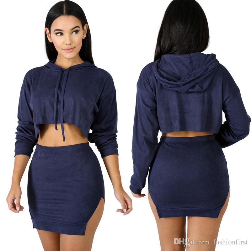 e1c46688c9edf Sexy Fall New Crop Top Crop Top Pencil Skirt Set Hooded Sweatshirt ...