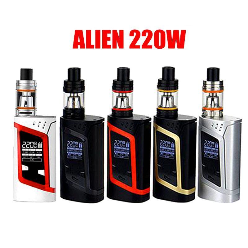 SMOKING Alien 220W Kit con 3ml TFF V8 Baby Beast Tank 220w BOX Mod Grande camera d'aria con quattro kit di vaporizzatori a bobina alternata