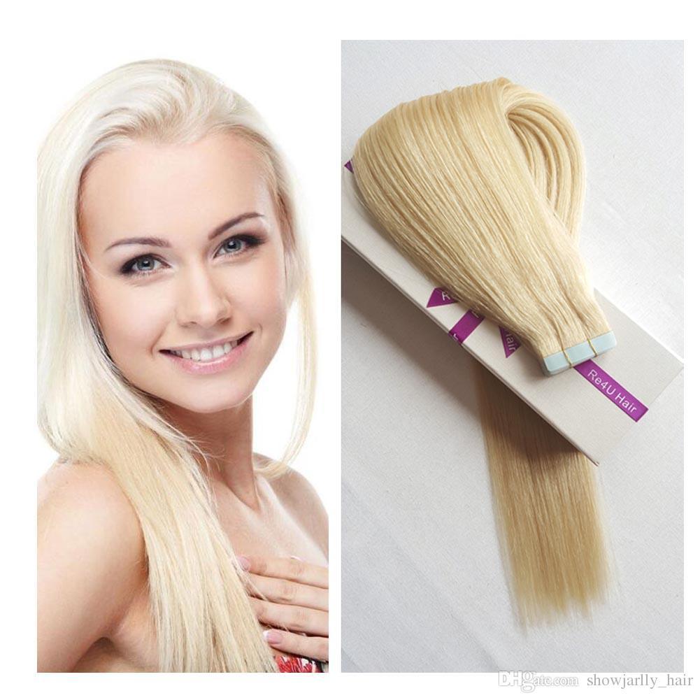 Großhandel 100 Echthaar Tape In Extensions Blondes Haar Platin