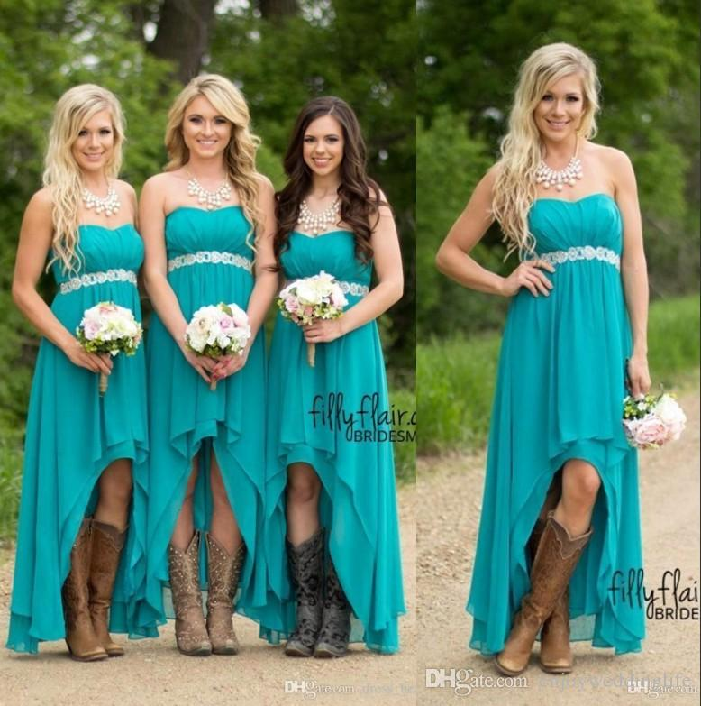 2019 Teal Turquoise Cheap Country Bridesmaid Dresses High Low Chiffon Boho Summer Beach Wedding Guest Party Bridesmaids Wear Under 70