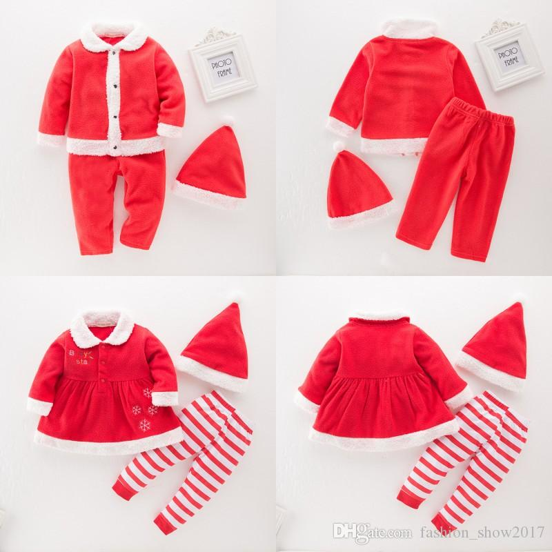 Christmas Kids Baby Boys Girls Santa Claus Costume Dress Pants Hat 3Pcs Set Outfits Xmas Gift