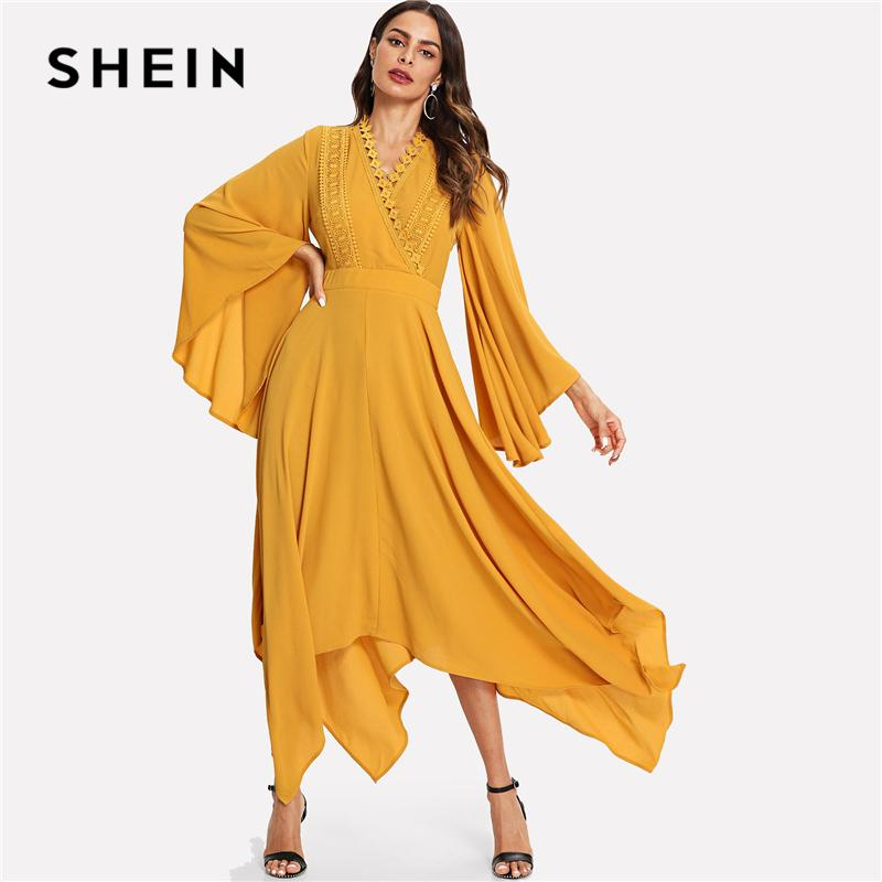 95d2c87d76 SHEIN Ginger Vacation Boho Bohemian Beach Exaggerate Bell Sleeve Hanky Hem  Asymmetrical Maxi Dress 2018 Autumn Casual Dresses UK 2019 From Ruiqi01, ...
