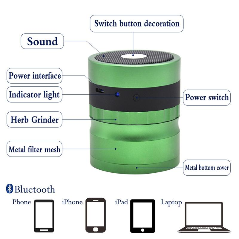 Newest Colorful 4Parts 62MM Aluminum Alloy Herb Bluetooth Speakers Grinder Spice Miller Crusher High Quality Beautiful Unique Design