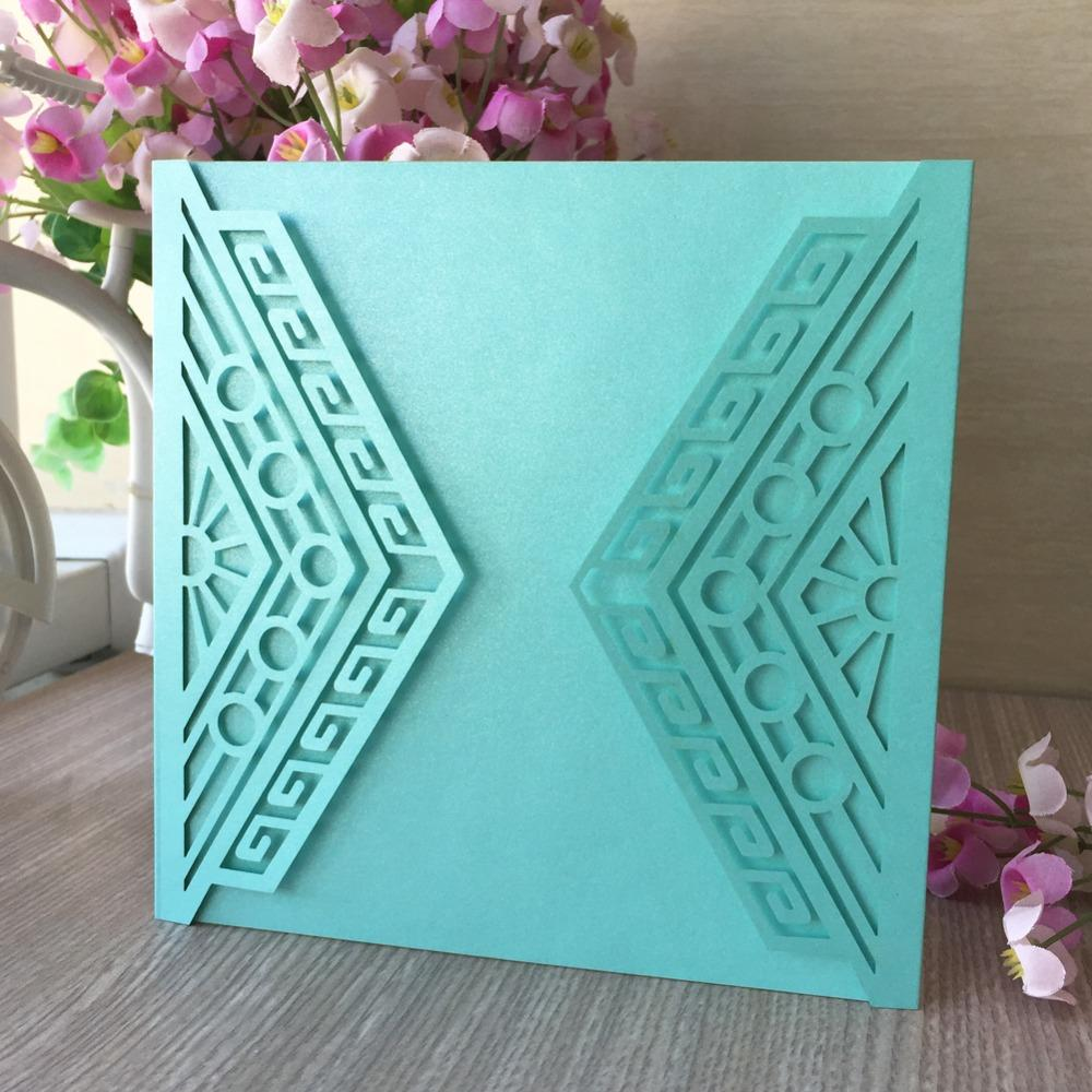 Chic Tiffany Blue Pearl Paper Wedding Invitations Birthday Party