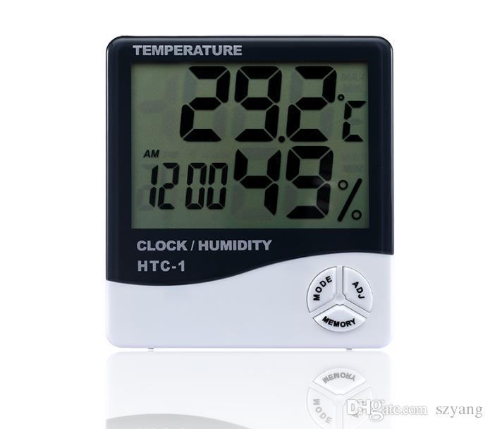 HTC-1 Haute précision LCD Numérique Thermomètre Hygromètre Intérieur Électronique Température Humidité Compteur Horloge Alarme Station Météo DHL