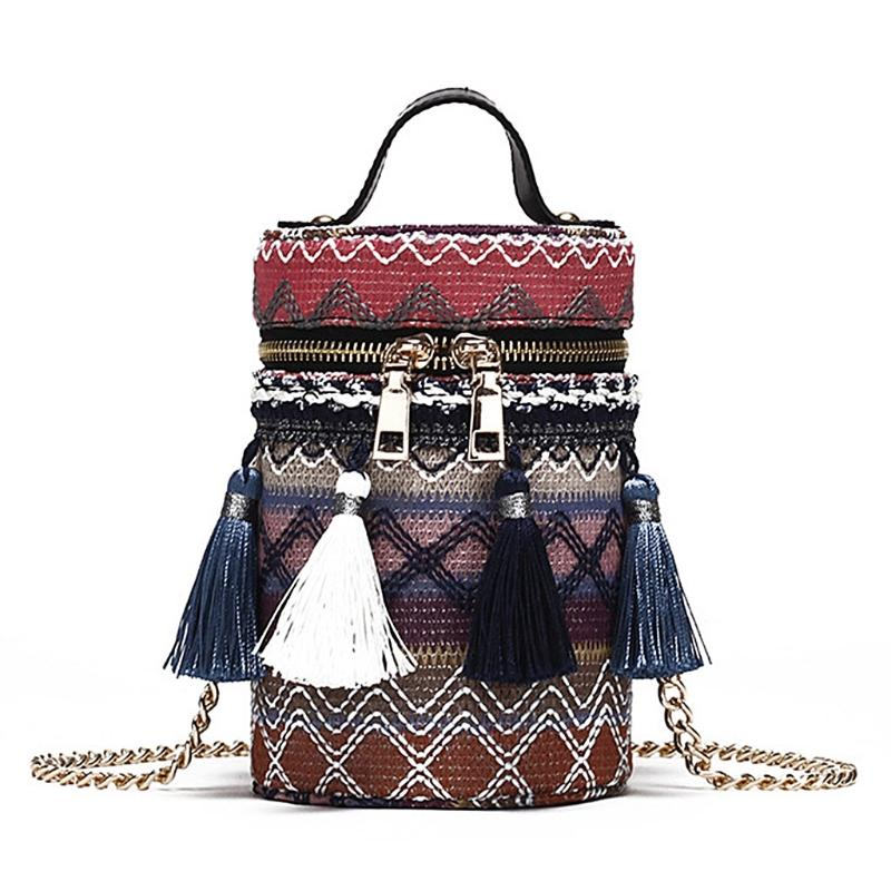 d5c77b2b3b New Women Woven Tassel Bucket Bag Tote Purse Chain Crossbody Shopping Handbag  Faux Leather Handbags Handbags For Women Mens Messenger Bags From Pinkvvv
