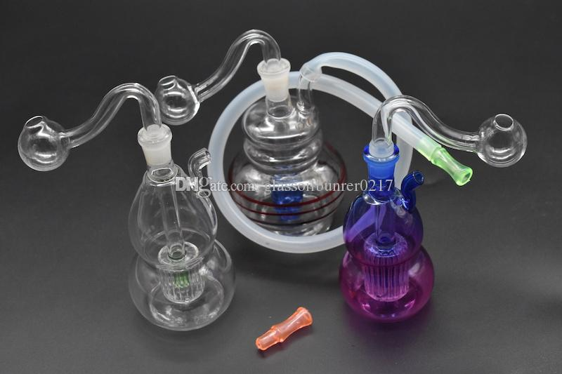 Glass Bong Water Pipes inline Perc Recycler bubbler 10mm Joint Hookah Mini Bongs with Hose and bowl mouth filter glass oil burner pipe