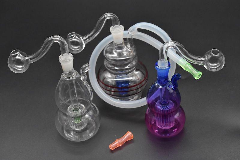 Tubi acqua in vetro Bong in linea Perc Recycler bubbler 10mm Joint Hookah Mini Bong con tubo e boccaporto