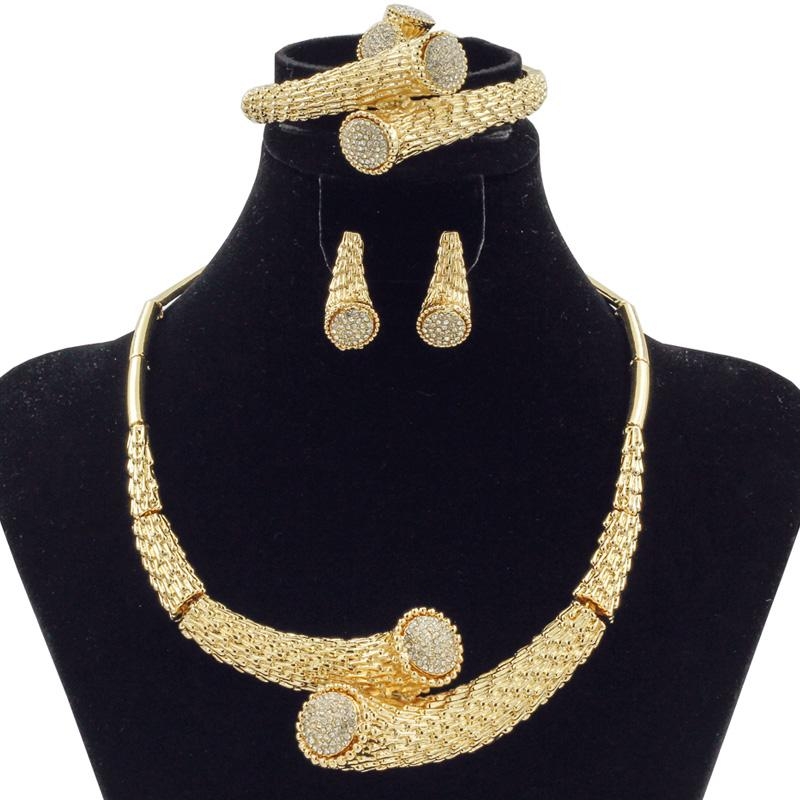 2018 New Fashion Dubai Crystal Ball Design Jewelry Sets African Women Bride Wedding Classic Gold Bead Necklace Earrings Set