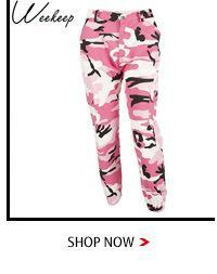 Weekeep Moda Pantalones de camuflaje de cintura alta Bolsillos de retazos de algodón Pantalones vaqueros Cargo de mujer Pantalones de chándal Pantalones de Camo
